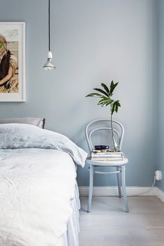 Bedroom with a serenity color palette