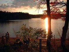 Walden Pond.  From H.D. Thoreau's 'Walden.'  Perhaps not quite 'fiction' per se...
