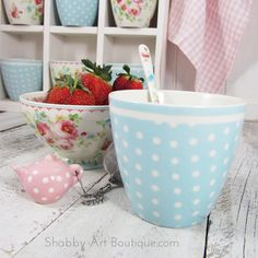 Greengate - Pale blue dot latte cup available from http://www.woodberrydesigns.com.au/GreenGate.htm