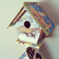 LOVE!!!!  DIY craft store birdhouse decorated with Little Golden Books + modge podge.  WOW!