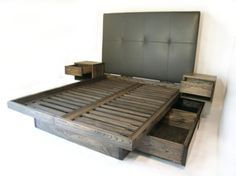 custom- platform bed with drawers and sidetables, uphostered headboard