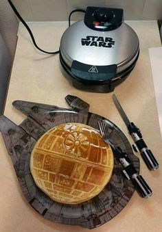 I love this set up! The waffle maker, the plate, and the utensils. All of it!