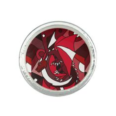 Awesome Red Dragon Art Abstract Ring #red #dragons #rings #jewelry #art #animals And www.zazzle.com/inspirationrocks*