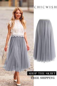 My Secret Weapon Tulle Skirt - Wedding Ideas Grey Tulle Skirt, Lace Skirt, Tulle Skirts, Long Skirt Outfits, Party Skirt, Bridesmaid Dresses, Wedding Dresses, Mode Style, Unique Fashion