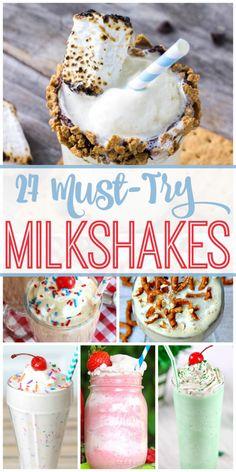The best milkshake recipes to make! Twenty seven creative and delicious milkshake recipes. #milkshake #dessert #easydessert #bestmilkshakes #milkshakerecipe #dessertrecipe #food #eat #icecream