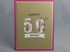 Included is one handmade happy 50th birthday card. It features a bright pink base that was layered with a lighter pink cardstock. The