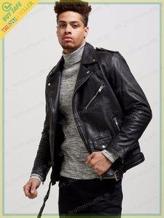 New Men's Genuine Lambskin Leather Jacket Black Slim fit Biker Motorcycle jacket Mens Leather Pants, Best Leather Jackets, Lambskin Leather Jacket, Men's Leather, Slim Fit Jackets, Stylish Jackets, Hommes Sexy, Leather Fashion, Men Fashion
