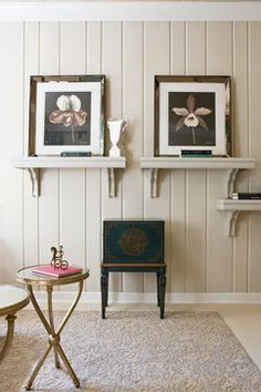Wall color is Joa's White by Farrow & Ball. DC Design House 2012 traditional home office Knotty Pine Paneling, Knotty Pine Walls, Painted Paneling Walls, Painting Wood Paneling, Wood Walls, Tan Walls, Painting Walls, Wood Paneling Makeover, Living Room Remodel