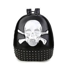 Aibag Embossed Leather Skull Crossbone Backpack Satchel * For more information, visit image link.