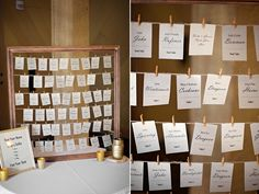 Wedding seating chart, hanging name tags, find name and replace with Polaroid picture, wood frame, rustic, photo by Shelsi Lindquist Photography