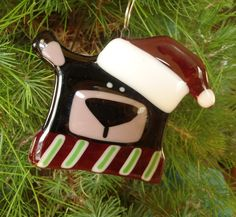 Fused Glass Bear Christmas Ornament  Holiday by ShadowDanceGlass, $22.00