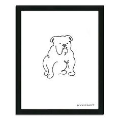 ''Bulldog Line Drawing'' Framed Wall Art