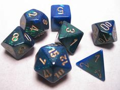 FRP GAMES - PRODUCT - Chessex RPG Dice Sets: Blue-Green/Gold Gemini Polyhedral 7-Die Set