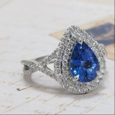 Double Halo Pear Tanzanite Ring in White Gold