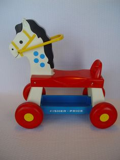 Vintage Fisher Price Ride On Horse Toy Horse by GandTVintage