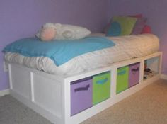 decor, bed frames, diy furniture, storag dayb, diy girl twin bedroom, twin beds, storage beds, ana white, kid