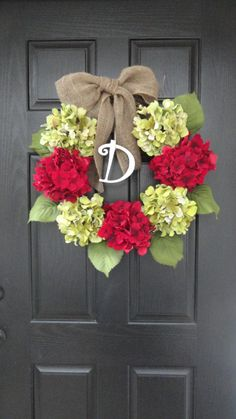 "24"" Beautiful Bright Red and Green Christmas Greeting Hydrangea Wreath, Holidays, Christmas, With Initial Monogram"