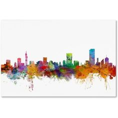 Great Big Canvas 'Pretoria South Africa Skyline' by Michael Tompsett Graphic Art Print Format: White Frame, Size: H x W x D Pretoria, Artist Canvas, Canvas Art, Big Canvas, Canvas Size, Gloss Matte, Watercolor Canvas, Print Format, Wall Murals