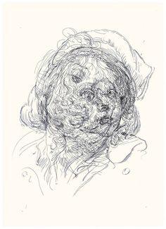 Glenn Brown Drawing 40 (after Greuze/Jordaens), 2014 ink on polypropylene over Indian ink on paper 50 x 36 cm