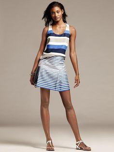 Blue Stripe Open-Pleat Skirt Product Image