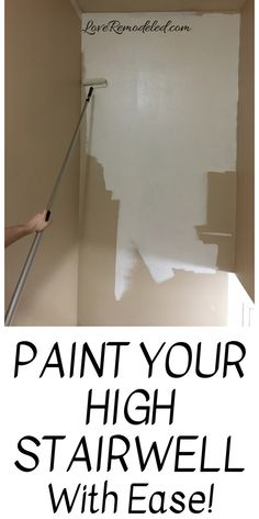 Ideas for Painting Staircase Walls - the Easy Way!- Ideas for Painting Staircase Walls – the Easy Way! This is the best way to paint staircase walls, or any high wall! Find out what tools you need, it's much easier than you think! Painted Staircases, Staircase Walls, Staircase Painting, Staircase Diy, How To Paint Stairwell, Painting Paneling, Painting Baseboards, Hallway Paint, Stair Banister