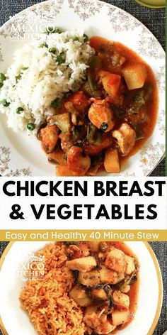 This simple recipe for Chicken Breast with Vegetables is a healthy and easy dinner. This chicken stew takes under 40 minutes, but it tastes like it's been simmering on the stove for hours. Serve with a hearty piece of bread or warm tortillas. Mexican Chicken Recipes, Easy Chicken Recipes, Easy Recipes, Kitchen Recipes, Cooking Recipes, Roasted Tomato Sauce, Vegetable Stew, Entree Recipes, Tortillas