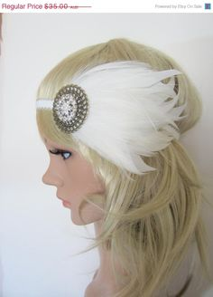 30% OFF 1920s white and cream feather flapper headband. $24.50, via Etsy.