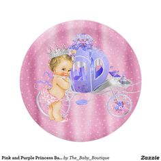 Pink and Purple Princess Baby Shower 7 Inch Paper Plate