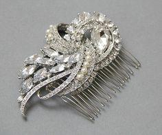 Pearl Bridal Hair Comb Rhinestone and Crystal by LavenderByJurgita, $78.00