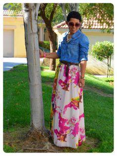 Mimi G Style: OOTD: DIY Watercolor Maxi Skirt & Denim Shirt + New Recipe