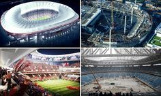 As Tottenham unveil images of their dramatic White Hart Lane overhaul. Sportsmail looks at the incredible stadium constructions taking… English Football Stadiums, White Hart Lane, Brentford, All Over The World, Budapest, City Photo, Madrid, Fair Grounds, Construction