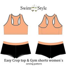 Activewear Easy Crop top & Gym Shorts Pattern