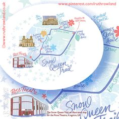 Hand lettered and illustrated Snow Queen Map created for a fairy story book trail for children
