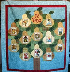 12 Days of Christmas Throw Quilt or Wallhanging by CactusPenguin, $225.00 #etsy