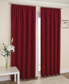 nhance your home with the Galaxy Red Curtains, featuring a subtle wave pattern and high quality block out lining, these curtains are perfect for all rooms, a selection of popular colours are available and they come with versatile tape heading.