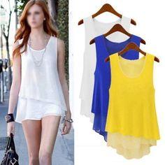 Women Summer Loose Casual Chiffon Sleeveless Vest Shirt Tops Blouse Ladies