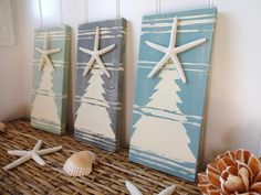 nautical christmas tree   Nautical Christmas Beach Sign Starfish Christmas Tree