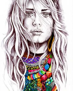 Alisa Burke — wavy hair and beads art prints