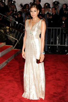 "Eva Mendes in Calvin Klein at the 2009 Met Gala: ""We custom-made this dress with Francisco Costa and took it to an art deco place by adding strands of Fred Leighton diamonds and a deep side part. Simple and glamorous."""