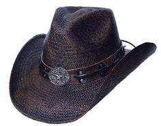 PISTOLERO DARK Austin Panama Straw Cowboy Hat with Pinchfront Crown