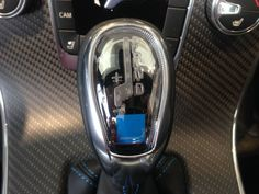 The gear shift from the s60 polestar notice the blue polestar emblem