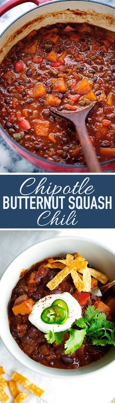 A smokey chipotle butternut squash chili recipe that's perfect for these crisp fall days! This chili recipe is completely vegan and has tons of butternut squash, peppers, and black beans. Squash Chili Recipe, Butternut Squash Chili, Chili Recipes, Vegetarian Recipes, Healthy Recipes, Healthy Food, Vegetable Recipes, Diet Recipes, Healthy Eating