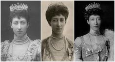The Fife Tiara - first belonged to Princess Louise of Wales, the oldest daughter of King Edward VII and Queen Alexandra. When she married the Earl of Fife in 1889, she received quite a waterfall of sparkling presents; this stunning tiara with pear-shaped diamonds hanging freely in a diamond framework, topped with more pear-shaped diamonds alternating with round diamonds, was among them.