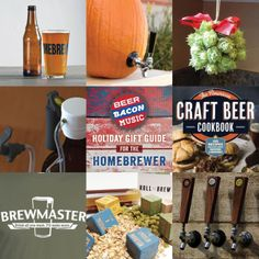 """#BeerBaconMusic Gift Guide. Product links here https://www.facebook.com/beerbaconmusic """"Homebrew"""" printed pint glasses; Hops Ornament; Pumpkin/Melon Tap Kit; Tap It Growler Cap; The American Craft Beer Cookbook; Brewmaster T-shirt; Wood Thub """"Roll & Brew""""; CAPHANDLES"""