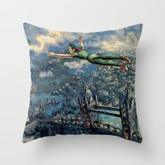 Peter Pan Throw Pillow by Juniper Vinetree. Worldwide shipping available at Society6.com. Just one of millions of high quality products available.