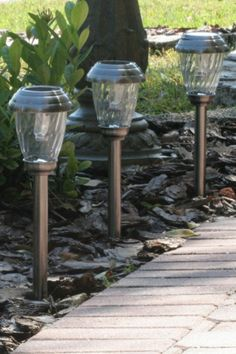 Light the way with the Smart Solar Charleston 6 Pack Solar Lights. These path lights are housed in sturdy stainless steel, and automatically switch. Solar Pathway Lights, Pathway Lighting, Path Lights, Solar Lights, Solar Lanterns, Lighting Ideas, Backyard Lighting, Landscape Lighting, Mason Jar Light Fixture