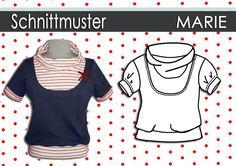 Hier gibt es das Schnittmuster und die Nähanleitung für das Shirt Marie als Ebook. Größensatz:36-44 Trendiger Schnitt, für  Jersey Qualitäten g...
