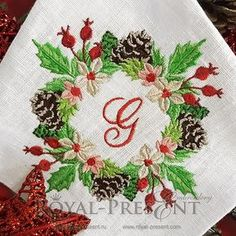 MACHINE EMBROIDERY DESIGN CHRISTMAS FLORAL WREATH – 3 SIZES