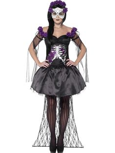 You can buy a Women's Day of the Dead Senorita Costume from the Halloween Spot. This black costume includes printed top, Skirt, Rose Headband & Latex Mask. Halloween Costumes Online, Fete Halloween, Adult Costumes, Costumes For Women, Costume Halloween, Voodoo Costume, Halloween Celebration, Costume Noir, Costume Shop