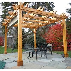 Need a place for the family to hang out in the shade or cloudy weather? Our 10 ft. x 10 ft. Cedar Pergola Kit with canopy is perfect for a large family enjo